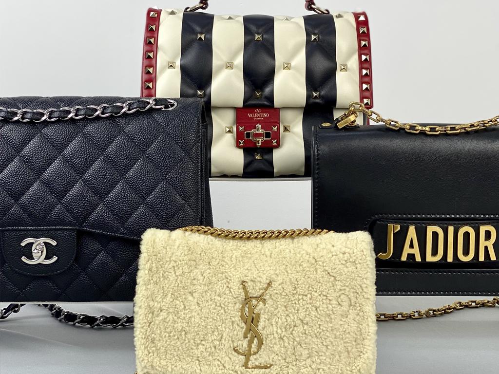 Bolsas Chanel, Louis Vuitton, Dior e Valentino em exposição